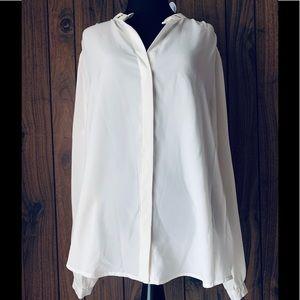 Michael Kors Ivory Chiffon Blouse Long Sleeve XL
